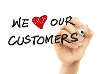 33086673 - we love our customers words written by 3d hand over white background